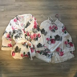 3 piece floral pajama set